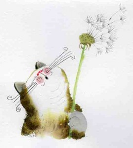cat blowing dandelion